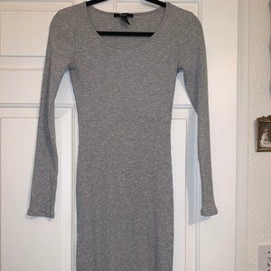 Forever 21 Grey Ribbed Bodycon Midi Dress